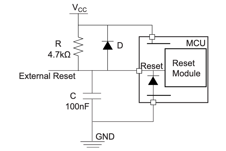 AN2519 recommended RESET circuit design
